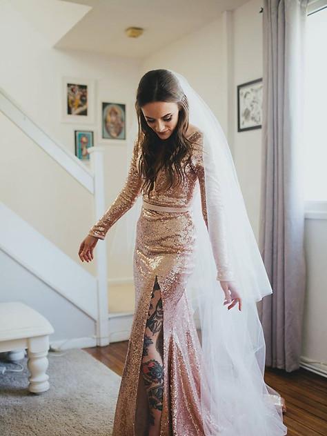 Nina & Jack blush pink rose gold sequin wedding dress