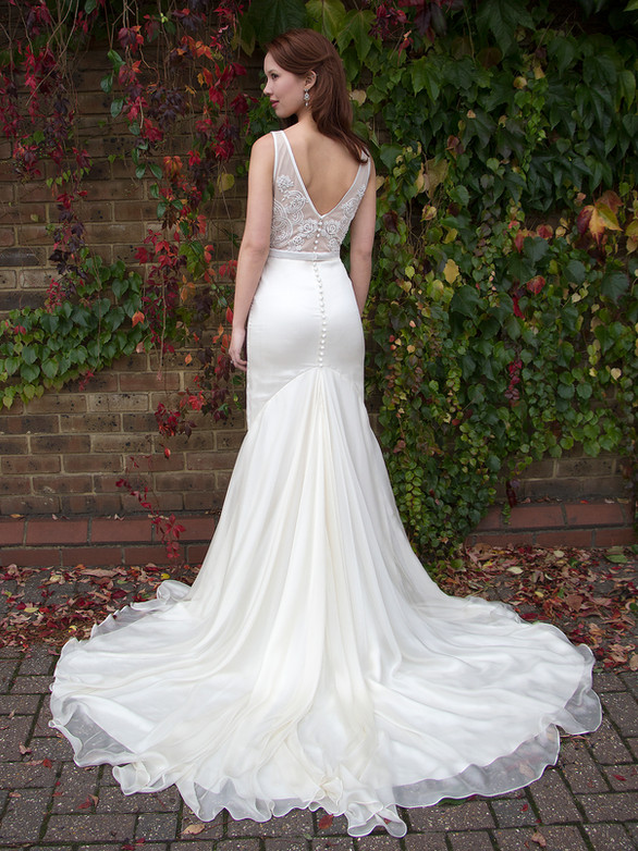 CHRISTINA ivory beaded embroidered tulle net, silk chiffon, silk crepe wedding dress, illusion bodice, straps, low back, V neckline, extra long dramatic train
