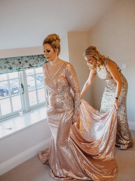 rose gold sequin wedding dress dramat