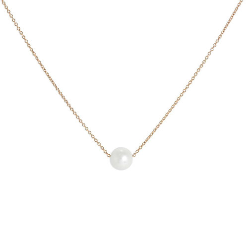 Single Pearl Rose Gold Necklace