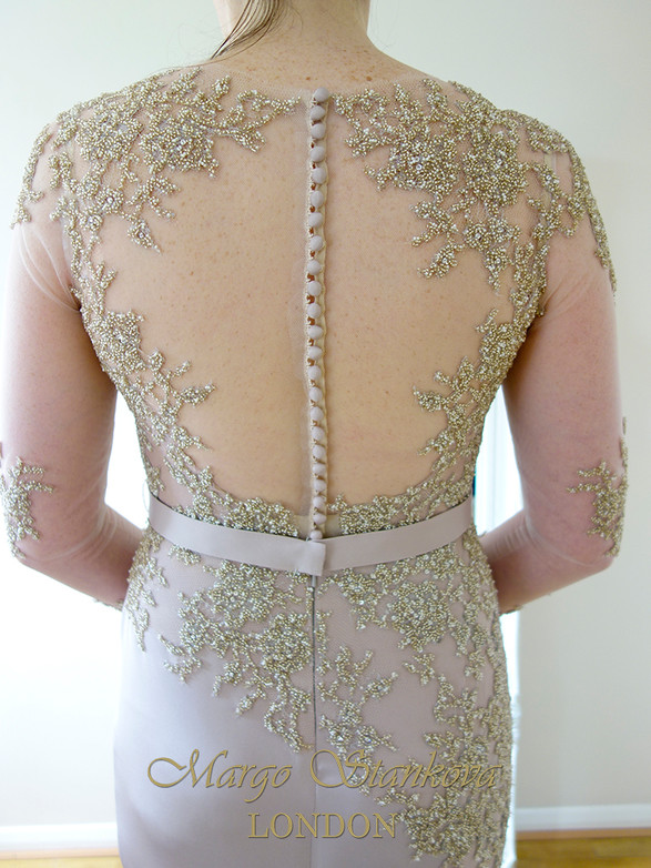 blush gold wedding evening dress, illusion back, long sleeve, fully beaded