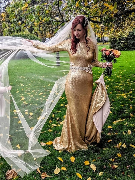 gold sequin wedding dress long train long sleeve