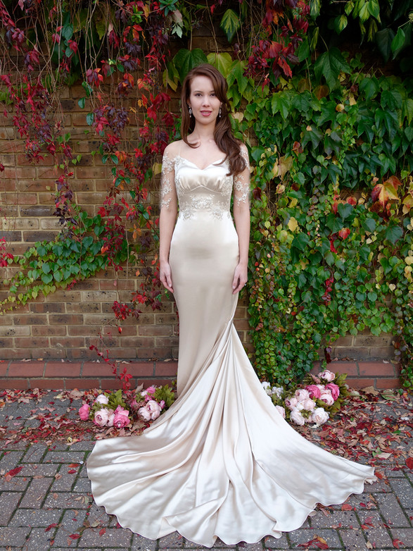 MAIREI wedding dress oyster silk crepe backed satin, cream lace fully hand beaded with pearls, beads and sequins. illusion off the shoulder half sleeve, empire weistline, extra long dramatic long train, mermaid style