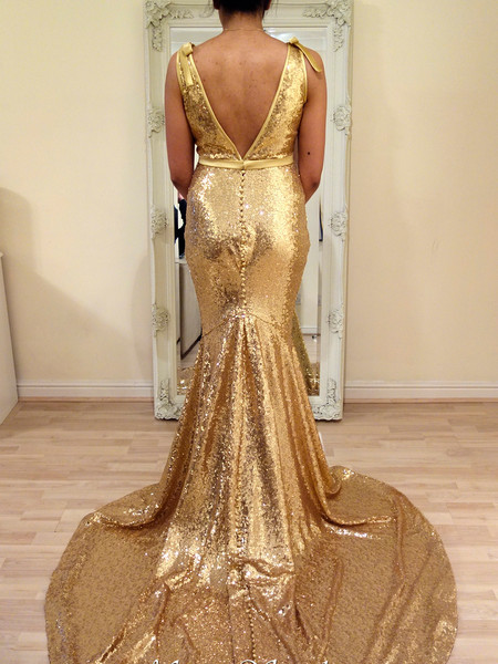 gold sequin wedding evening formal dress