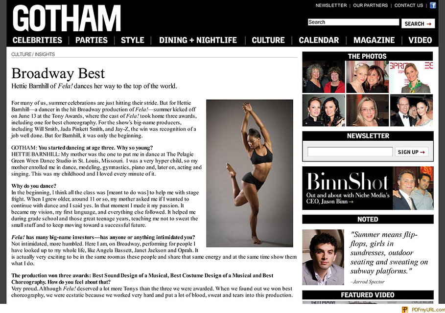 Gotham Magazine writes a feature article about Hettie Barnhill, Broadway star.