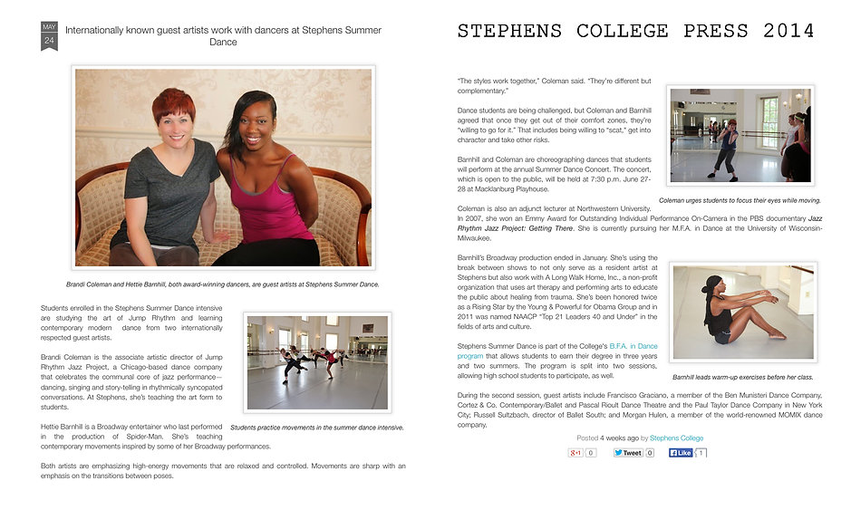 Stephens College write about Hettie Barnhill and her time here at Stephens College in Columbia, Missouri.