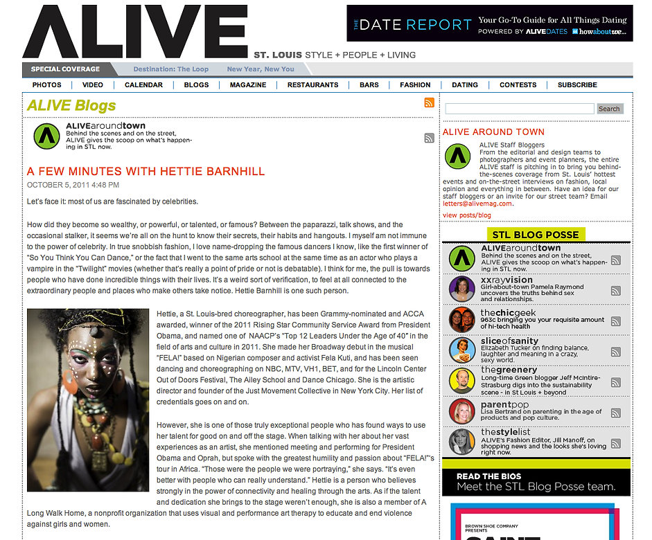 ALIVE Magazine writes a feature article about Hettie Barnhill, Broadway Star.