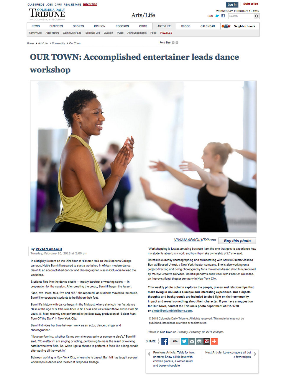 Columbia Daily Tribune of Columbia, Missouri writes an article about Hettie Barnhill of Broadway and her time teaching masters classes and workshops at Stephens College for their Dance and Theatre Majors.
