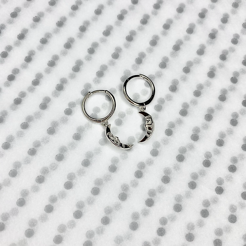 Sterling Silver Crescent Moon Hoops