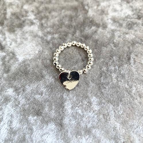 Silver Beaded Heart Ring