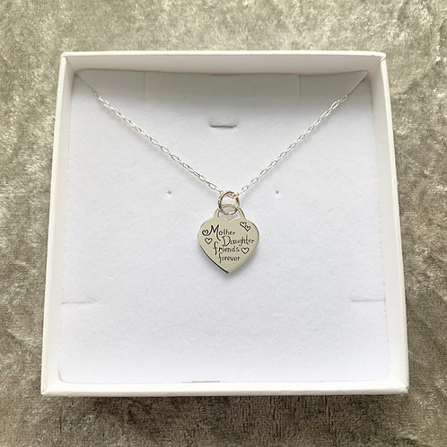 Sterling silver mother & daughter heart necklace
