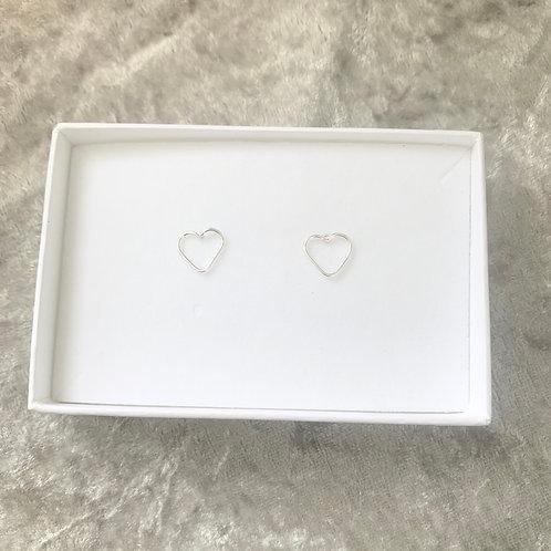 Silver open heart studs