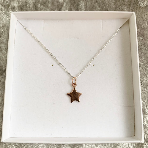 Rose Gold Sterling Silver Star Necklace