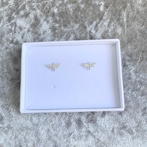 Silver Bee Studs