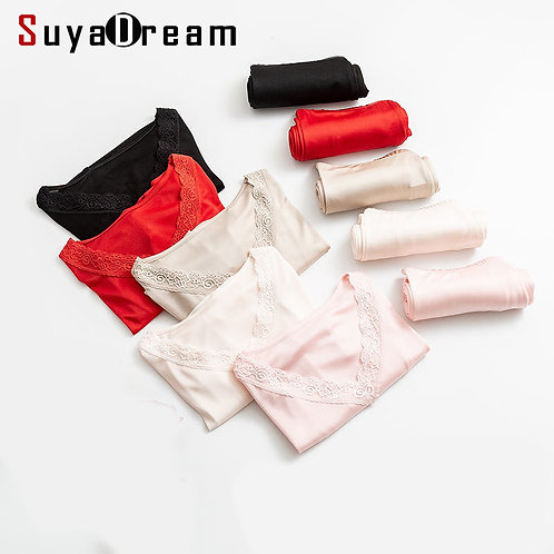 Comfortable Loungewear Silk and Lace Thermal Top and Bottom by Suya Dream