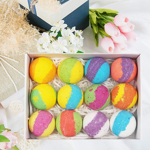 BATH BOMBS GIFT SET OF 12-PERFECT FOR AT HOME SPA DAY-MADE WITH ESSENTIAL OILS