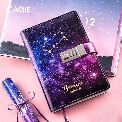 ASTROLOGICAL SIGN BINDER NOTEBOOK WITH LOCK-AGENDA PLANNER-FOUNTAIN PEN