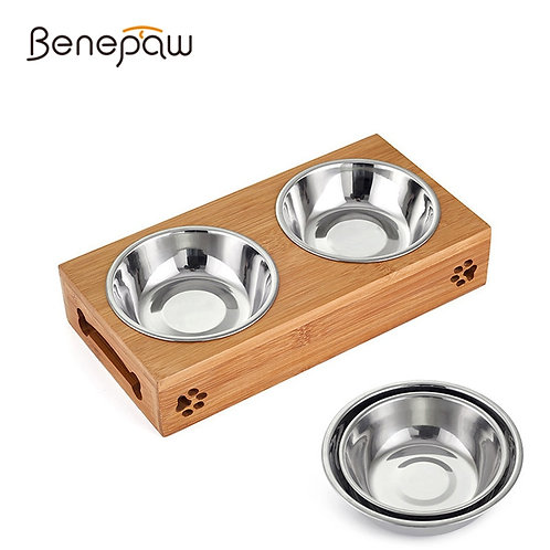 BAMBOO STAND DOUBLE STAINLESS STEEL FOOD AND WATER BOWLS FOR YOUR PET CAT OR DOG