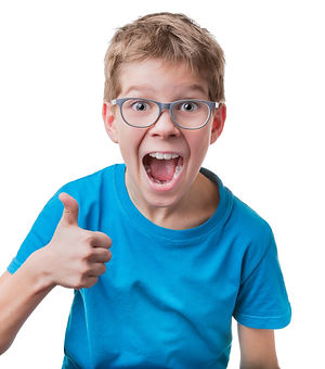 Blond hair boy in glasses showing thumbs