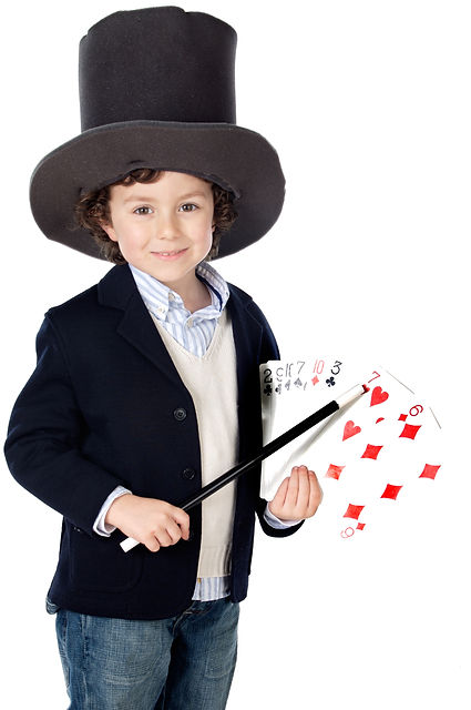 Adorable child dress of illusionist with