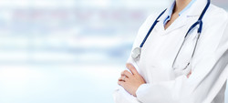 Medical physician doctor hands. Healthcare background banner.