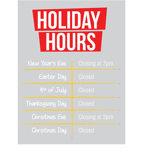 Holiday Hours static cling