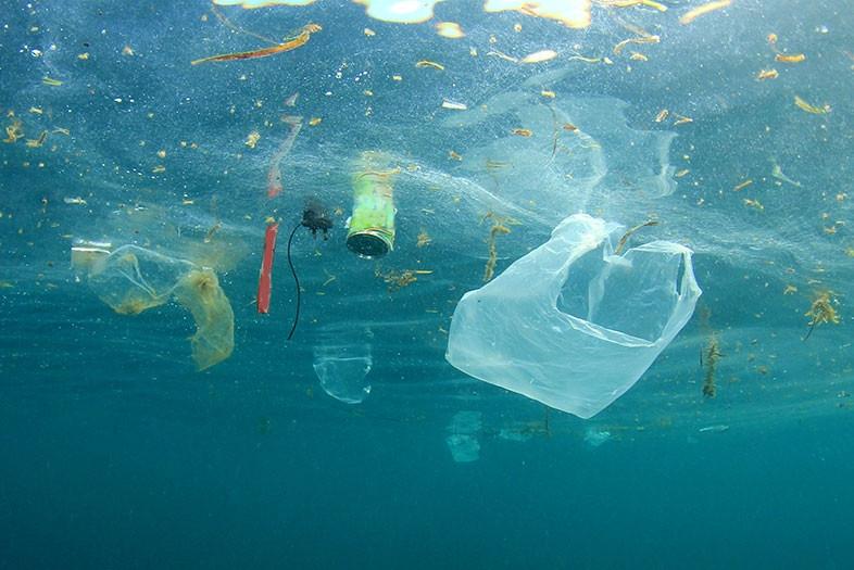 Plastic waste garbage floats in ocean