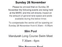 Limited swim time at MARC on 26 Nov