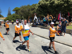 Barb carries Baton at 2018 Rotto Finish