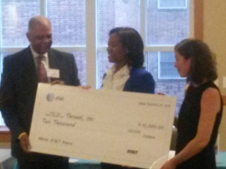Ms. LaTara Harris AT&T Presents Check to Dr. Sarah Hemminger and Thread