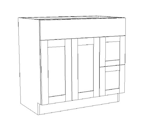 """Vanity Combination 2 Drawers Right - 36"""""""