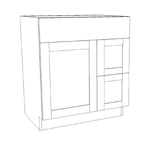 """Vanity Combination 2 Drawers Right - 30"""""""