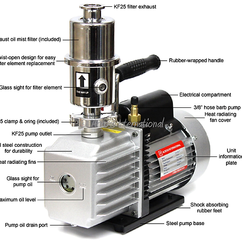 Ai EasyVac 7 cfm Vacuum Pump with Oil Mist Filter ETL/CE