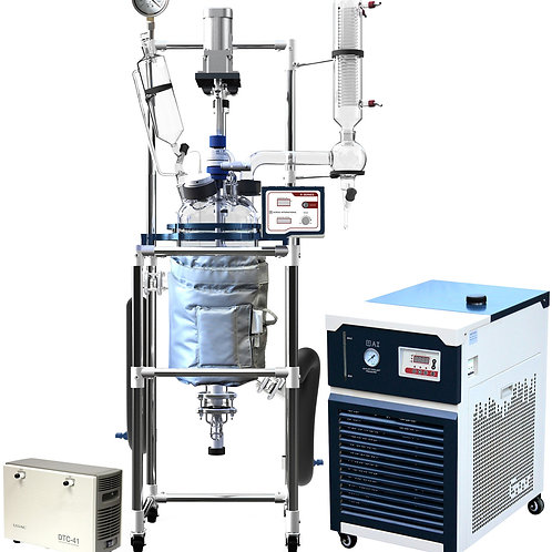 Ai 10L Single or Dual Jacketed Glass Reactor w/ Chiller & Pump