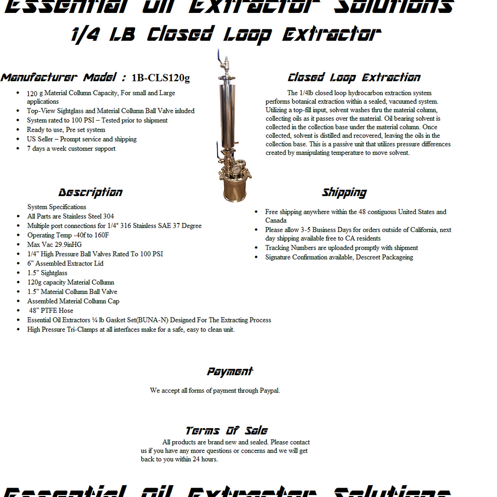 1/4LB 120G Closed Loop Extractor With Solvent Tank | website