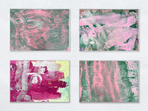 Farbe auf Papier: Je 100 x 70 cm