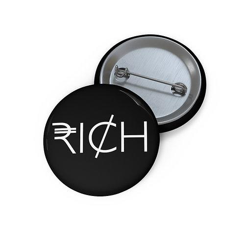 """""""RI¢H"""" Pin Buttons (Black)"""