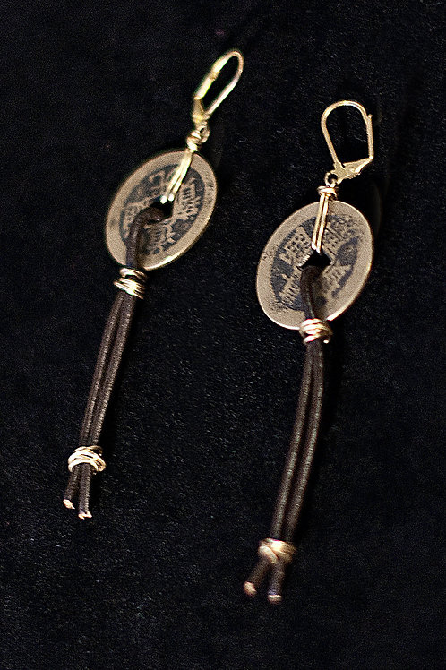 Coin Leather Earrings