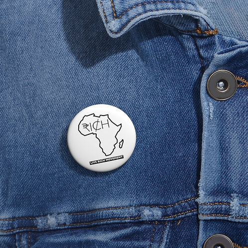 """Africa """"RICH"""" Pin Buttons (White)"""