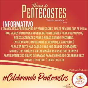 INFORMATIVO: NOVENA DE PENTECOSTES.