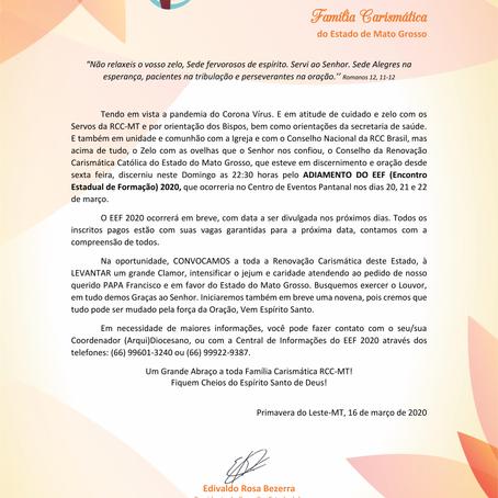NOTA OFICIAL: ADIAMENTO DO EEF 2020