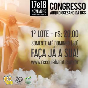 PRIMEIRO LOTE DE INSCRIÇÃO DO CONGRESSO ENCERRA NESTE DOMINGO (30)