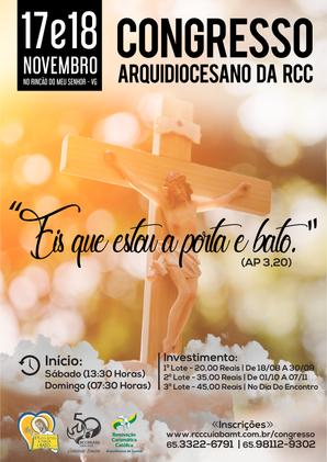 FAÇA JÁ A SUA INSCRIÇÃO PARA O CONGRESSO ARQUIDIOCESANO DA RCC!