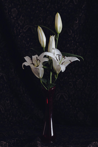 Untitled (Open lillies in a red vase)
