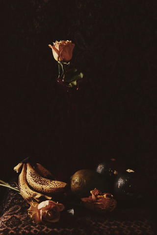 Still Life with a dying rose and decaying vegetables