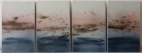 Quatriptique-+Etournaux+au+couché+du+soleil-40x160cm-2012-Bleu+de+cobalte+sous+couverte-Porcelaine+d