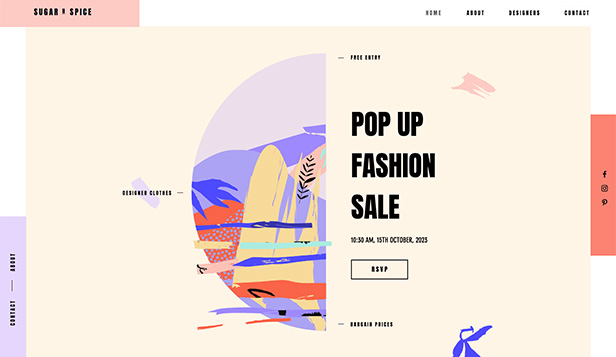 Events website templates – Pop Up Fashion Store