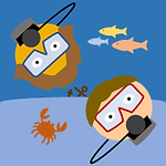 Learn to Scuba Dive Button: Two cartoon scuba divers with a crab, anchor, and colorful fish.