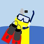 Scuba and Snorkel Gear Button: Cartoon-like scuba tank, mask, snorkel, and fins.