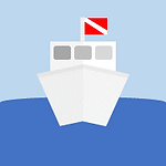 Dive Travel and Trips Button: Cartoon-like dive boat.